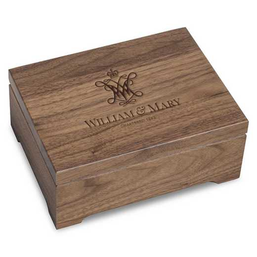 615789337553: College of William & Mary Solid Walnut Desk Box