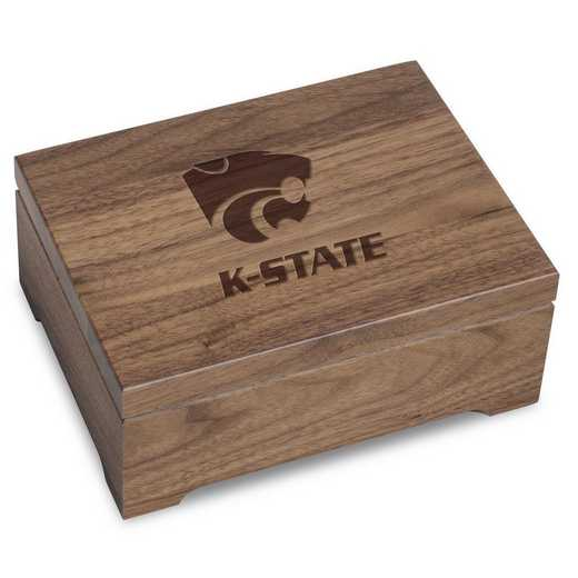 615789371373: Kansas State University Solid Walnut Desk Box