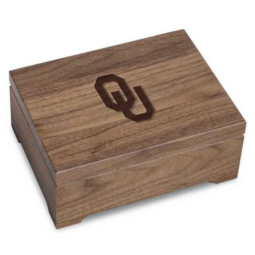 615789395386: University of Oklahoma Solid Walnut Desk Box