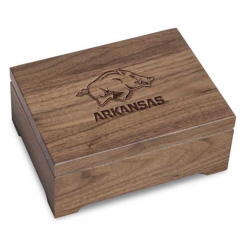 615789448662: University of Arkansas Solid Walnut Desk Box
