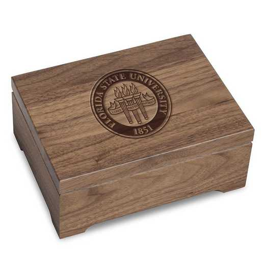 615789466406: Florida State University Solid Walnut Desk Box