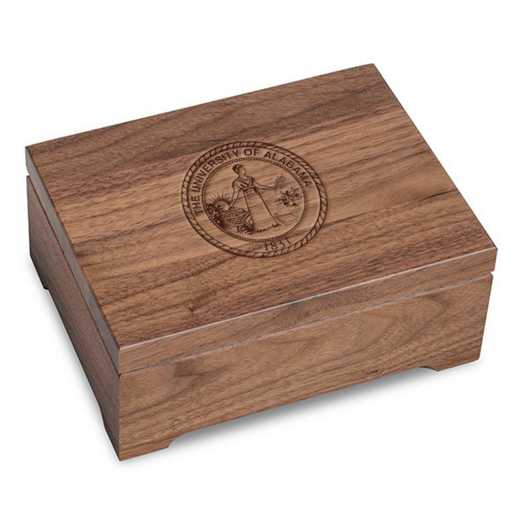 615789621225: University of Alabama Solid Walnut Desk Box