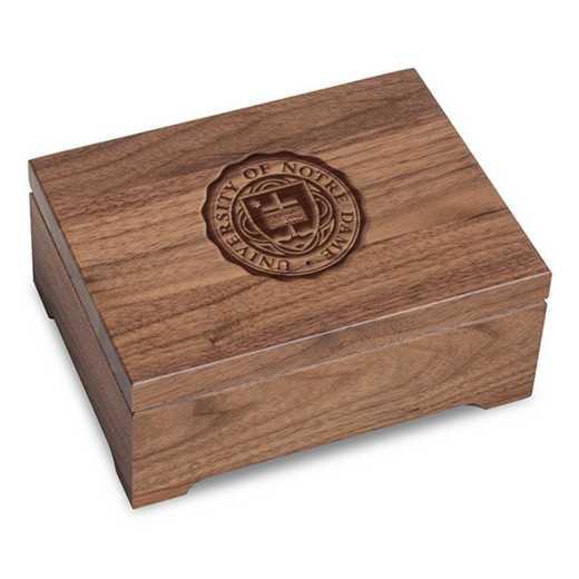 615789621478: University of Notre Dame Solid Walnut Desk Box