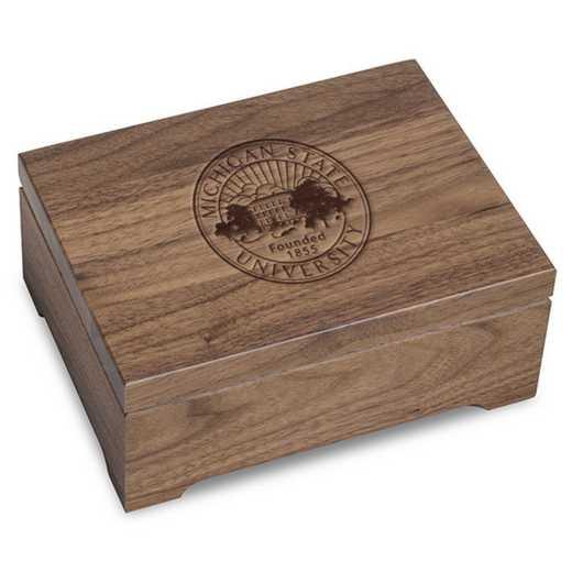 615789641766: Michigan State University Solid Walnut Desk Box