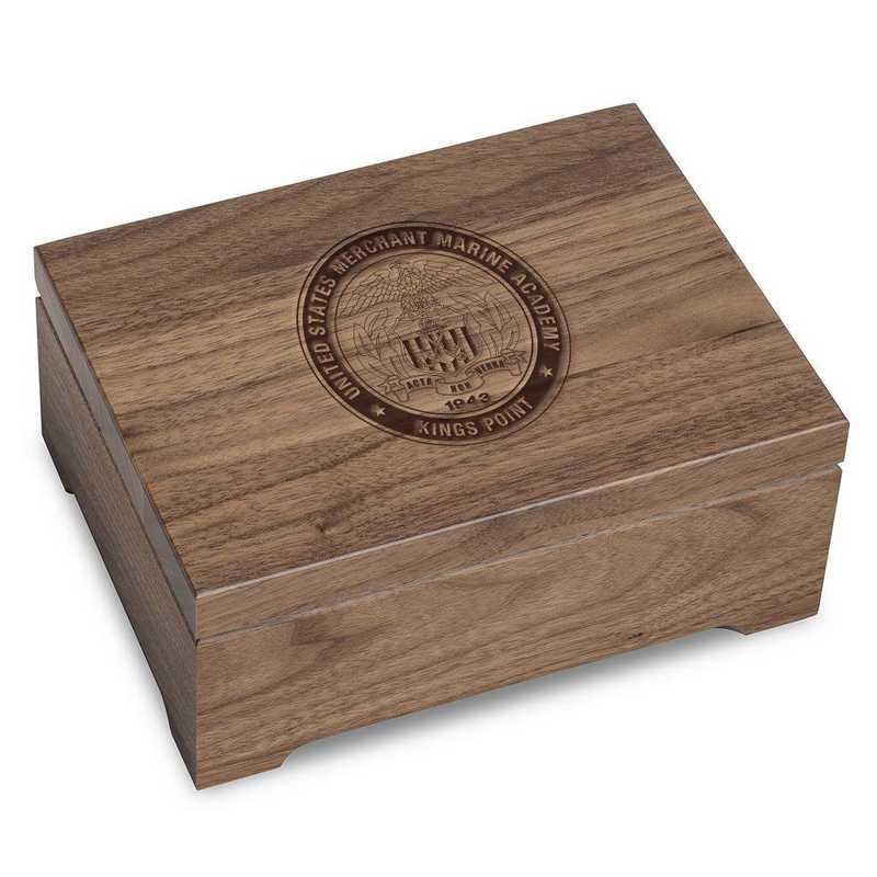 615789718727: US Merchant Marine Academy Solid Walnut Desk Box