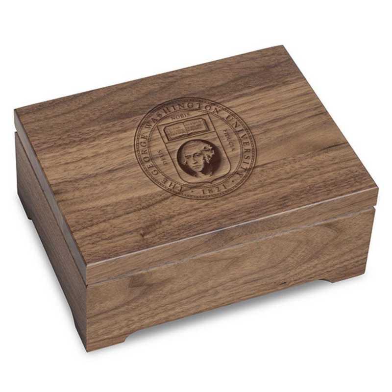 615789742678: George Washington University Solid Walnut Desk Box