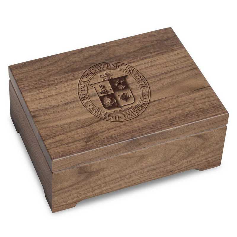 615789807421: Virginia Tech Solid Walnut Desk Box