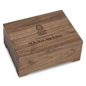615789847861: University of South Carolina Solid Walnut Desk Box