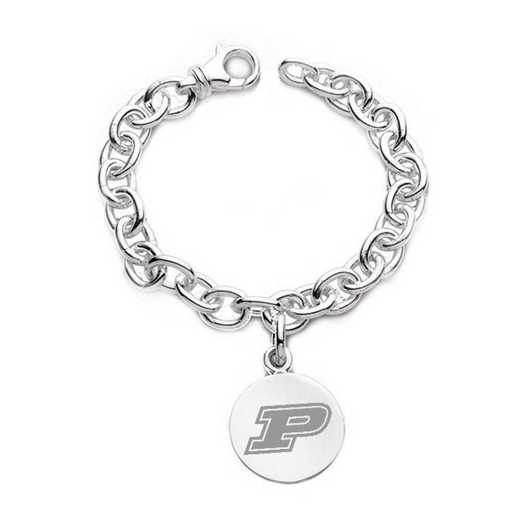 615789182580: Purdue University Sterling Silver Charm Bracelet