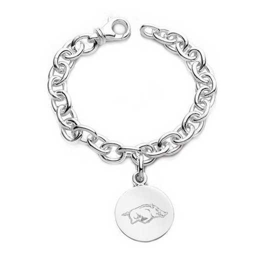 615789299424: University of Arkansas Sterling Silver Charm Bracelet