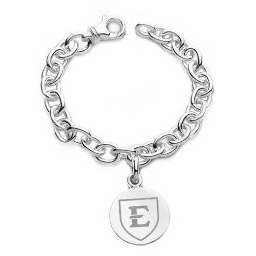 615789306061: East Tennessee State University Sterling Silver Charm Bracelet