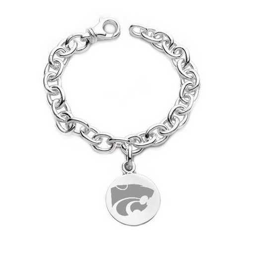 615789460565: Kansas State University Sterling Silver Charm Bracelet
