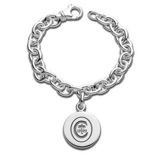615789466765: Clemson Sterling Silver Charm Bracelet