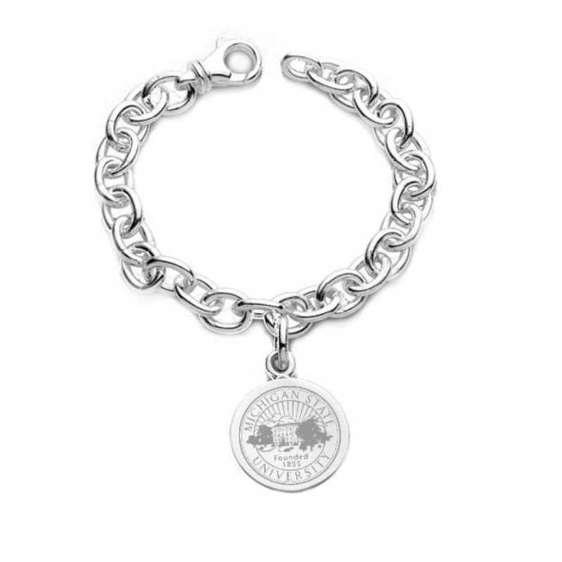 615789671305: Michigan State Sterling Silver Charm Bracelet