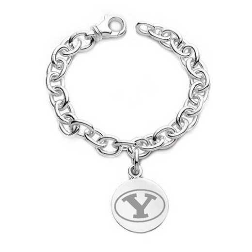 615789719014: Brigham Young University Sterling Silver Charm Bracelet