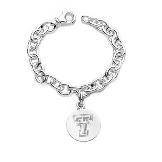 615789829331: Texas Tech Sterling Silver Charm Bracelet