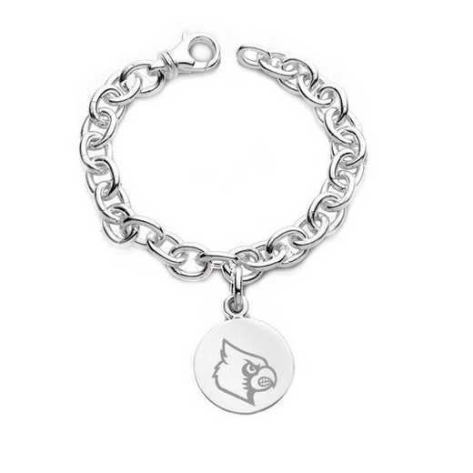 615789860914: University of Louisville Sterling Silver Charm Bracelet