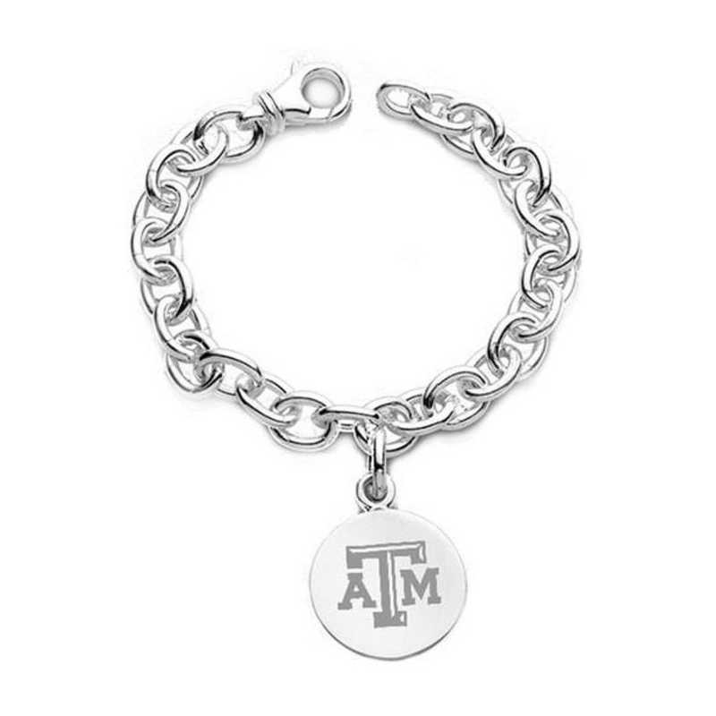 615789910596: Texas A&M Sterling Silver Charm Bracelet
