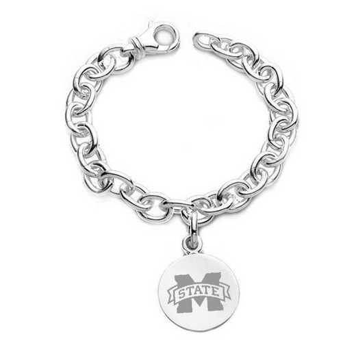 615789937272: Mississippi State Sterling Silver Charm Bracelet