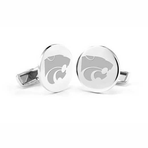 615789469674: Kansas State University Cufflinks in Sterling Silver
