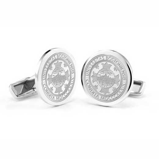 615789638858: Boston University Cufflinks in Sterling Silver