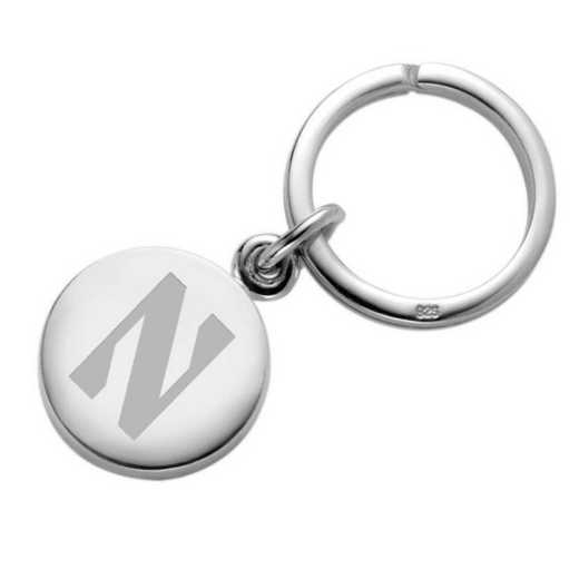 615789077695: Northwestern Sterling Silver Insignia Key Ring