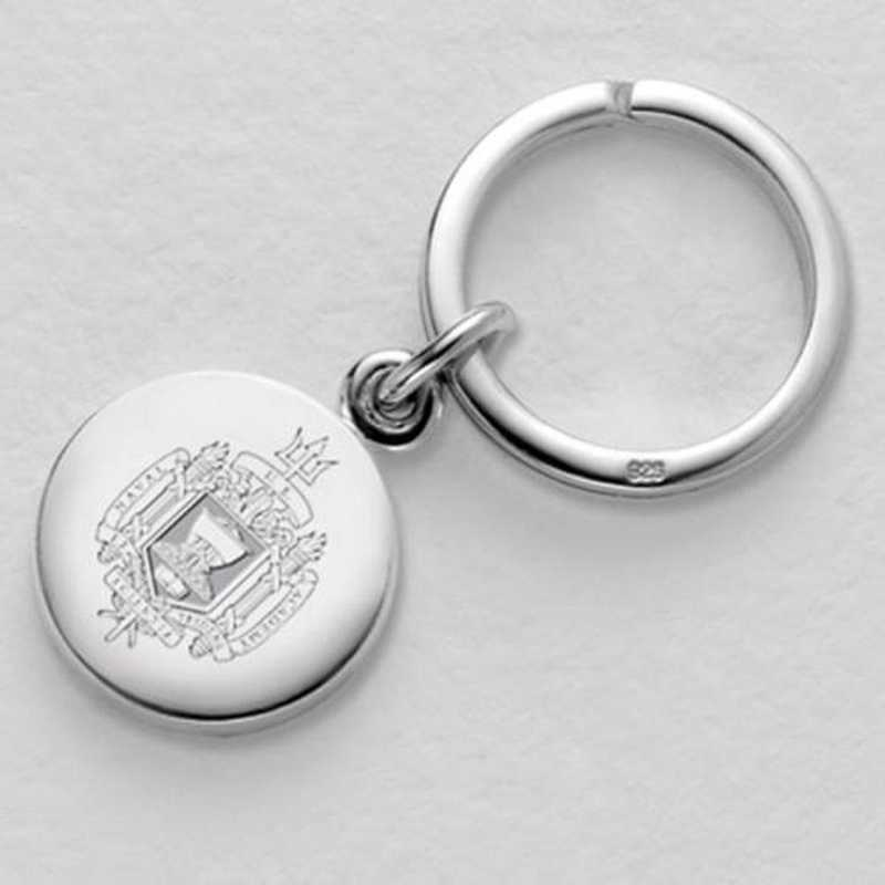 615789162957: Naval Academy Sterling Silver Key Ring