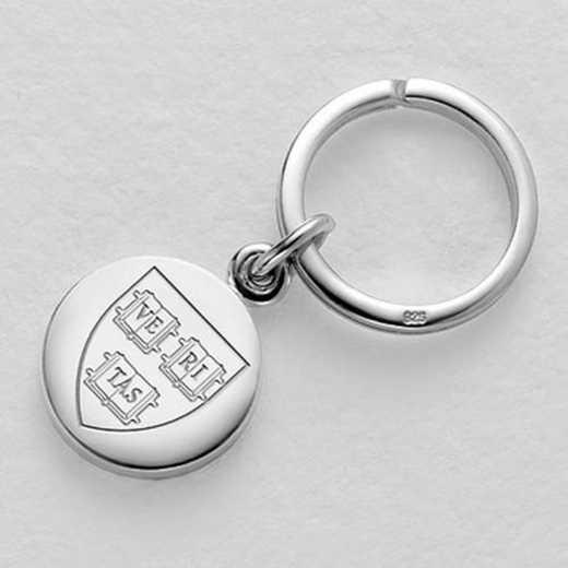615789910039: Harvard Sterling Silver Insignia Key Ring