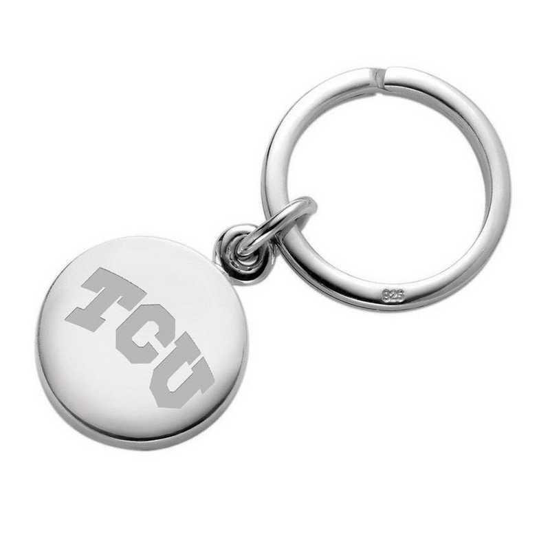 615789910756: TCU Sterling Silver Insignia Key Ring