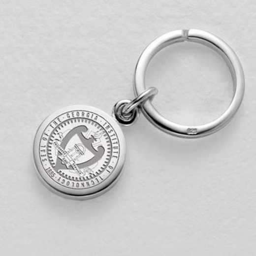 615789958116: Georgia Tech Sterling Silver Insignia Key Ring