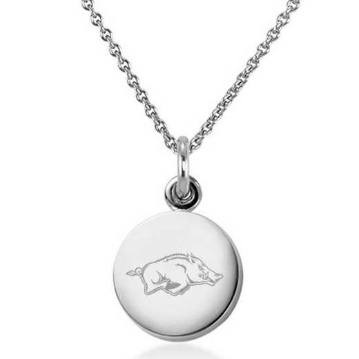 615789438472: University of Arkansas Necklace with Charm in SS