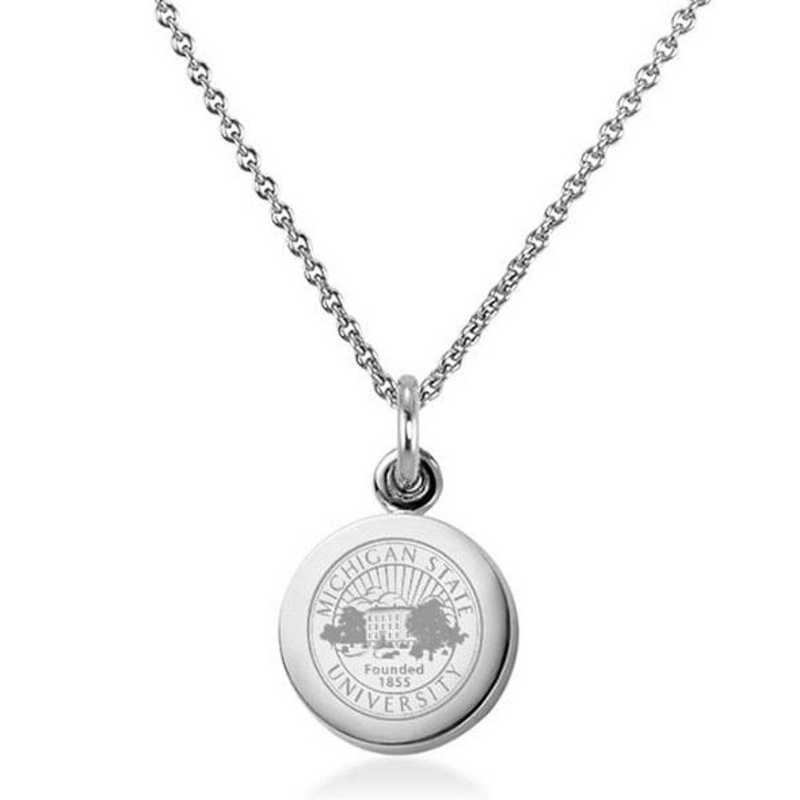 615789610571: Michigan State University Necklace with Charm in SS