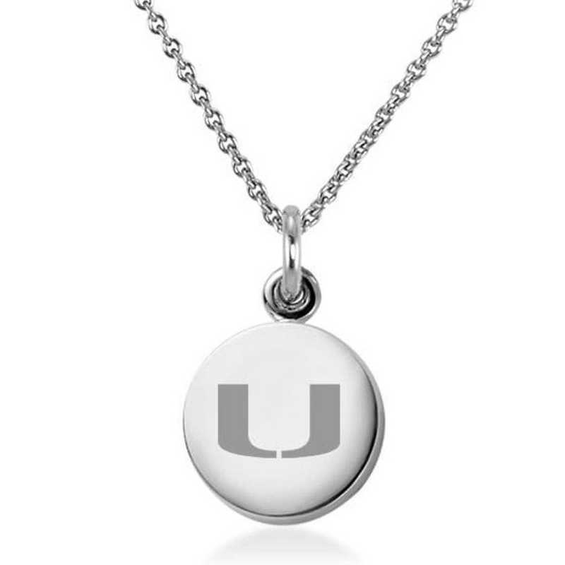615789617709: University of Miami Necklace with Charm in SS