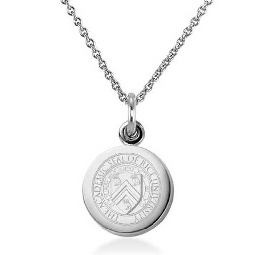 615789845683: Rice University Necklace with Charm in SS
