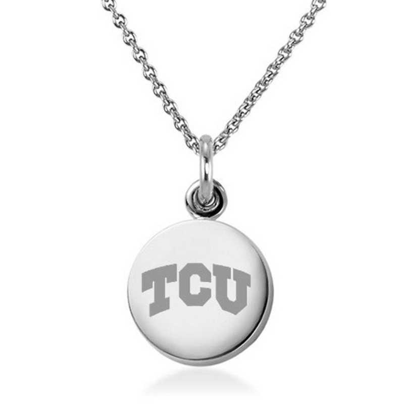615789868644: Texas Christian University Necklace with Charm in SS