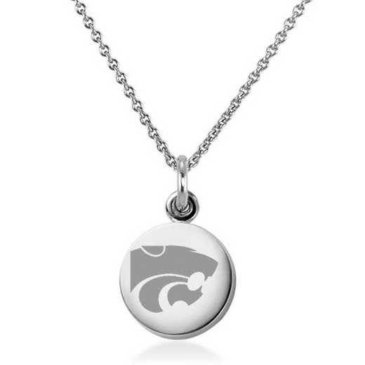 615789985242: Kansas State University Necklace with Charm in SS