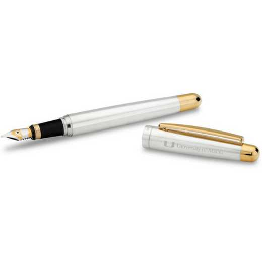 615789580225: Univ of Miami Fountain Pen in SS w/Gold Trim
