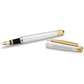615789730668: Univ of Arkansas Fountain Pen in SS w/Gold Trim