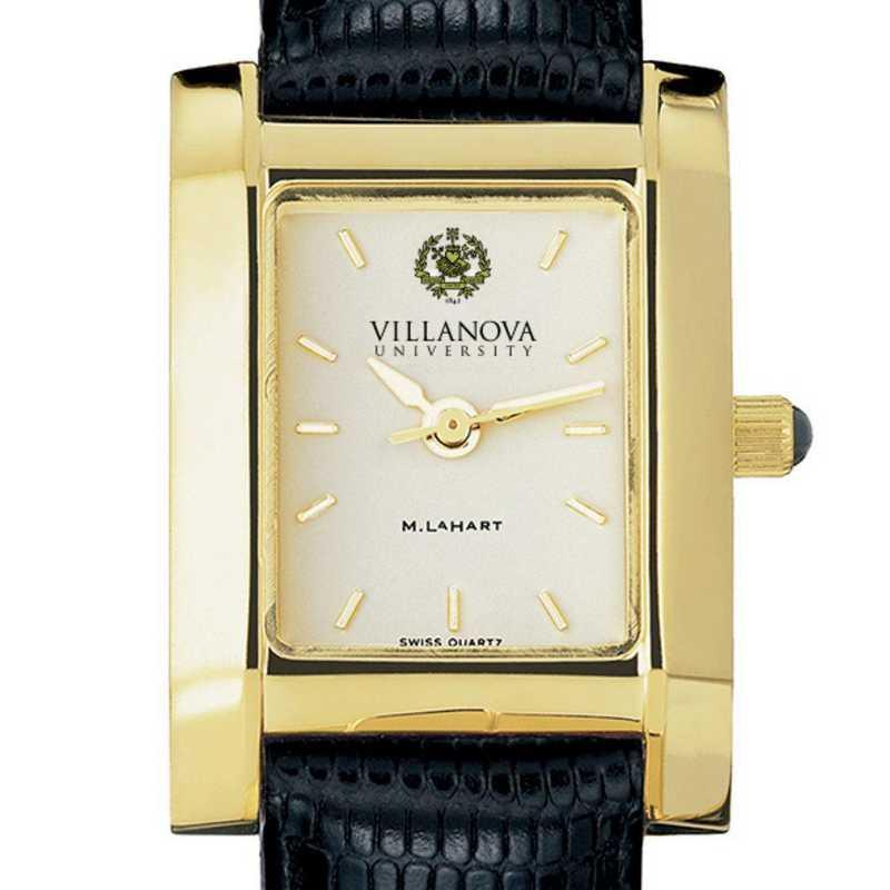 615789190806: Villanova Women's Gold Quad Watch W/ Leather Strap