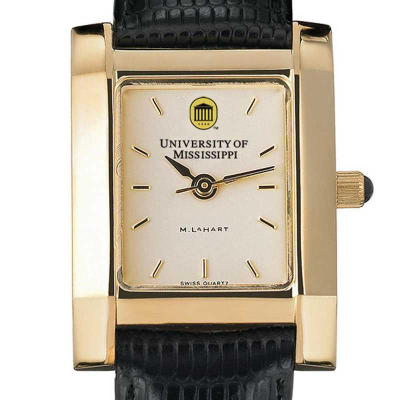 615789335795: Ole Miss Women's Gold Quad Watch W/ Leather Strap