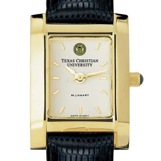 615789411444: TCU Women's Gold Quad Watch W/ Leather Strap