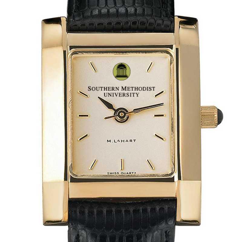 615789411505: SMU Women's Gold Quad Watch W/ Leather Strap