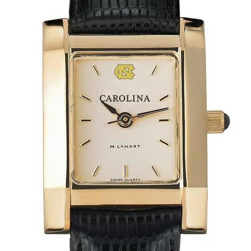 615789465898: UNC Women's Gold Quad Watch W/ Leather Strap