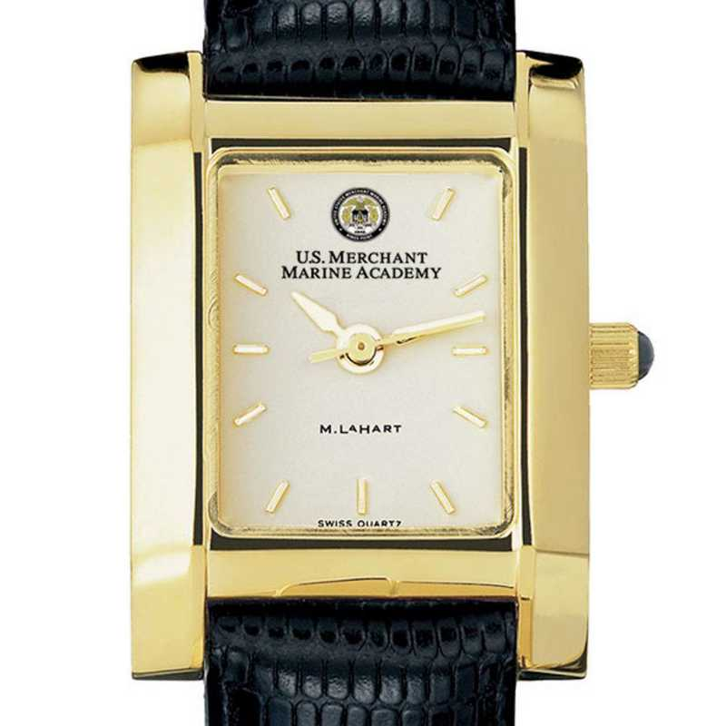 615789482147: USMMA Women's Gold Quad Watch W/ Leather Strap