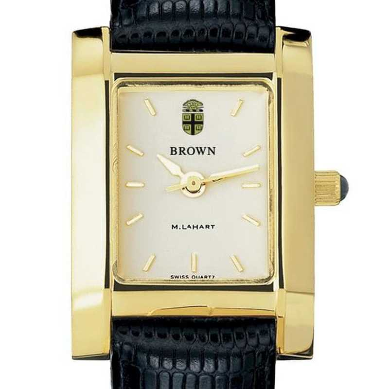 615789499992: Brown Women's Gold Quad Watch W/ Leather Strap