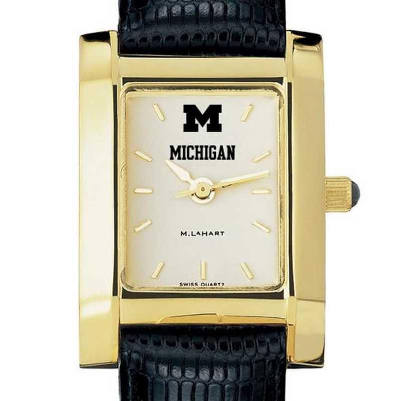 615789511427: Michigan Women's Gold Quad Watch W/ Leather Strap