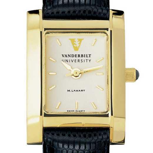 615789590330: Vanderbilt Women's Gold Quad Watch W/ Leather Strap