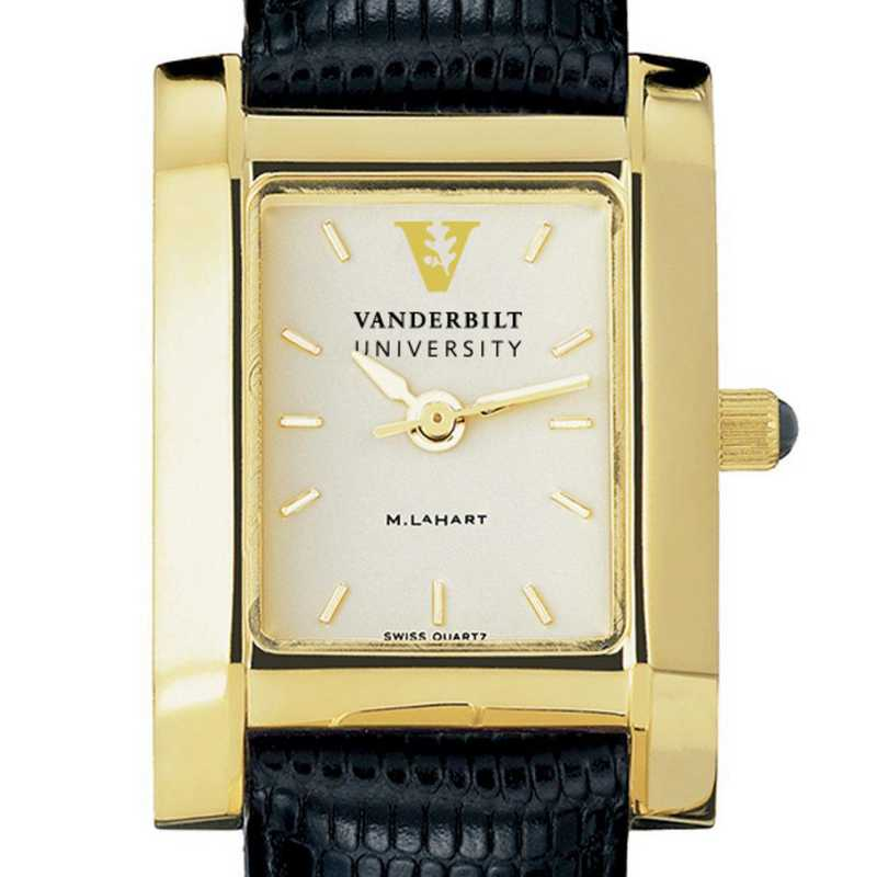 615789590330: Vanderbilt Women's Gold Quad Watch W/ Leather Strap