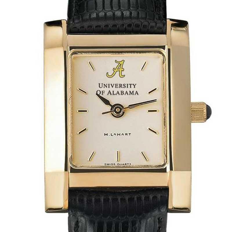 615789632696: Alabama Women's Gold Quad Watch W/ Leather Strap