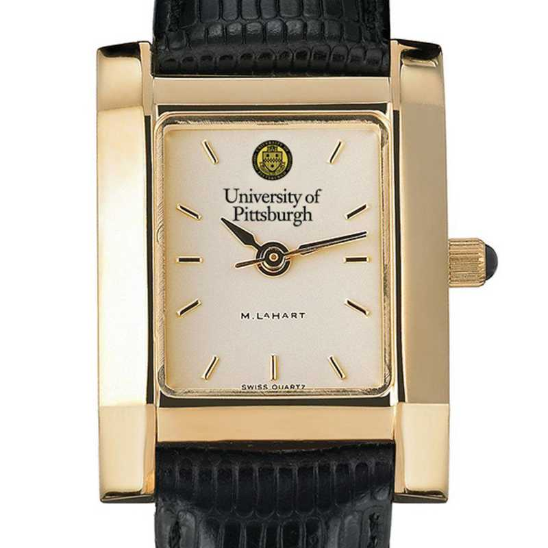 615789671688: Pittsburgh Women's Gold Quad Watch W/ Leather Strap
